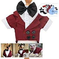 Lovelonglong Pet Costume Dog Suit Formal Tuxedo with Black Bow Tie for Large Medium Small Dogs Cat Wedding Clothes Reddish Brown L-S