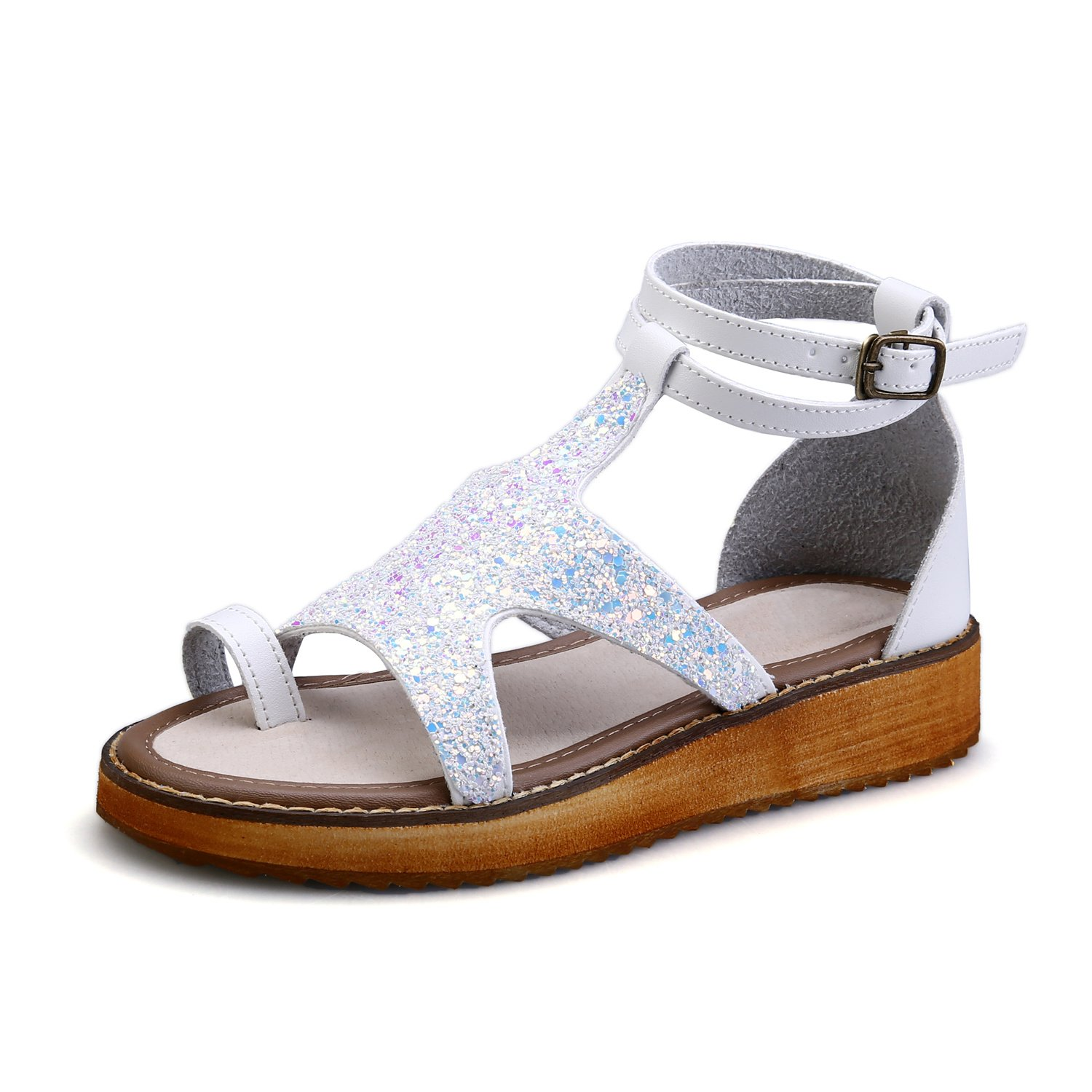 Smilun Girl's Roman Sandals Flip Flop Thong Rhinestone Back Strap Metal Buckle Strap Flip Flops Thongs Sandals Flat Gladiator Sandals White US6.5