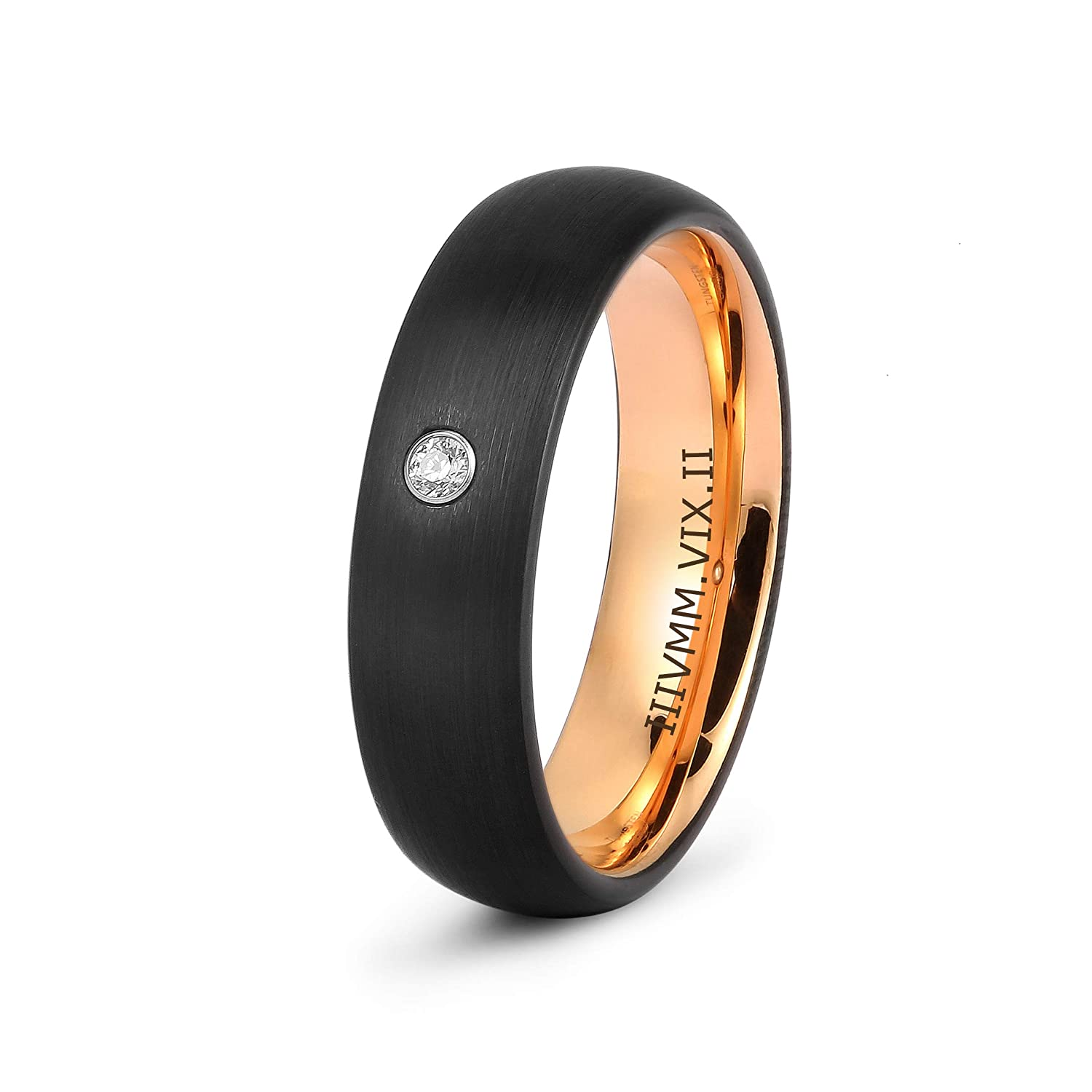 LerchPhi Tungsten Rings for Women Free Custom Engraved Cubic Zircon Paved Black Satin Finish Dome Rose Gold Innerface Comfort-fit