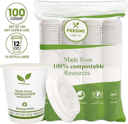 FEEDMI tazas de café de papel con tapas, 100% biodegradables ...