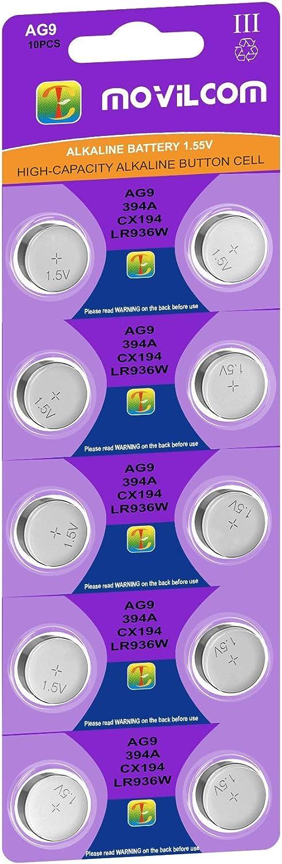 MovilCom® - Pila botón AG9 Pilas Reloj 1.5V Equivalente a 394, SR936SW, V394, D394, 625, SR936, 394/380, LR936