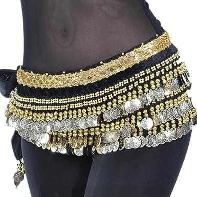 Belly Dance Costume Hip Scarf Tribal Triangle hip Belt skirt velvet /&Gold coins