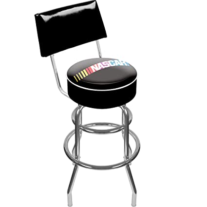 Amazon Com Nascar Padded Swivel Bar Stool With Back Sports Outdoors