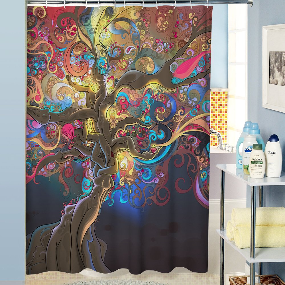 Uphome Colorful Abstract Tree Pattern Custom Bathroom Shower Curtain Waterproof Polyester Fabric Bathroom Curtain Set with Hooks (72'' W x 72'' H, Abstract Tree)