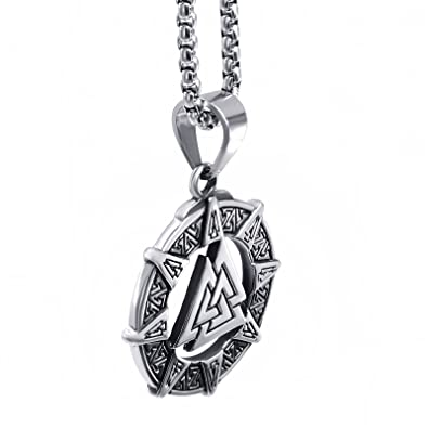 Elfasio stainless steel pendant necklace mens valknut scandinavn elfasio stainless steel pendant necklace mens valknut scandinavn odin symbol norse viking chain 18 mozeypictures Image collections