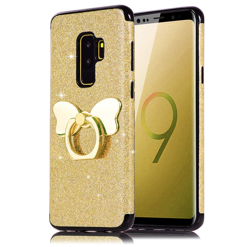 HUDDU Compatible for Handyhülle Samsung Galaxy S9 Plus Rosegold Shinny Glitzer Sparkles TPU Bling Hülle 360 Rotation Ring Halter Stand Bowknot Halterung Silikon Schutzhülle Rückseite Mädchen