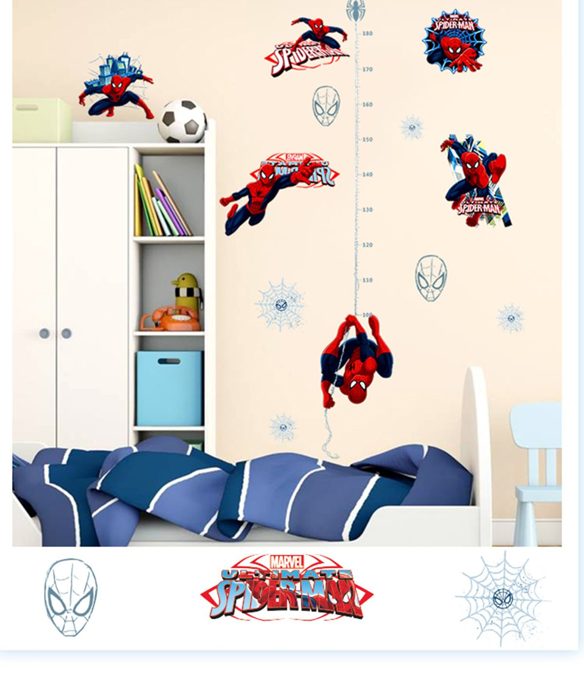 Ikeelife Spiderman Cartoon Marvels Hero Height Measurement Growth Chart Wall Vinyl Decal For Kids Room Spider-Man Decor Sticker Removable Boys Children'S Bedroom Ws001 C 140X90Cm/55.2X35.5''