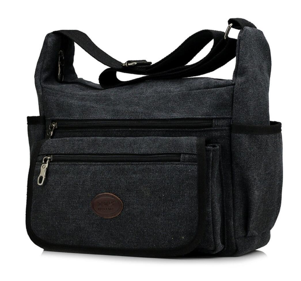Lightweight Messenger Travel Bag Vintage Heavy Duty Canvas Shoulder School Bag Unisex Satchel Purse Black