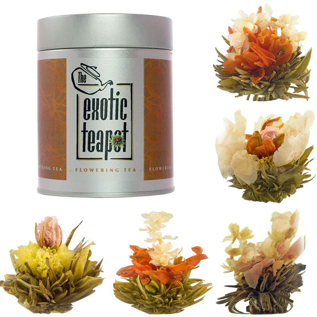 The Exotic Teapot - Flowering Tea Sampler Tin, 5 Different Varieties of Blooming Tea, Vacuum Sealed Tea Balls, Jasmine Tea Flowers