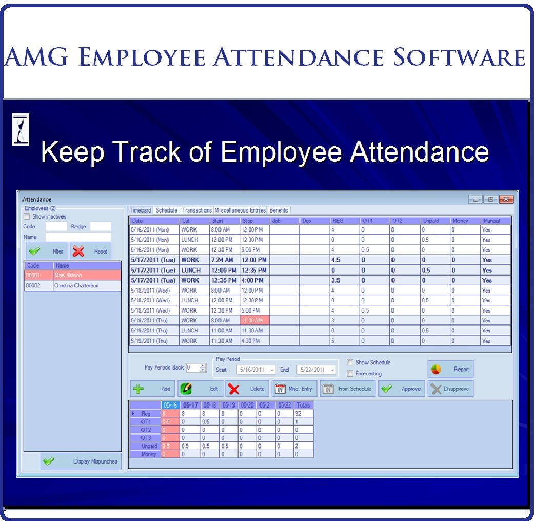 amazon com amg employee attendance software 50 employees 2 user
