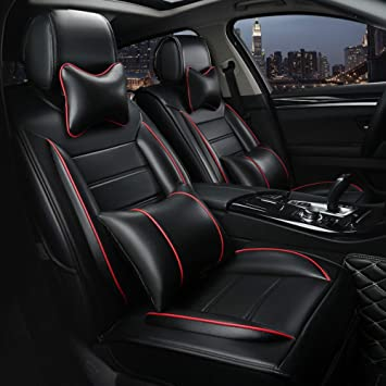 PTOWL Cartoon Full Set Universal Fit 5 Seats Car Surrounded Waterproof Leather Car Seat Covers Protector Adjustable Removable Auto Seat Cushions Black-Blue