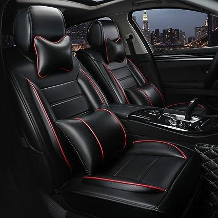 Leather Car Seats >> Amazon Com Ankiv Black Full Set Universal Fit 5 Seats Car