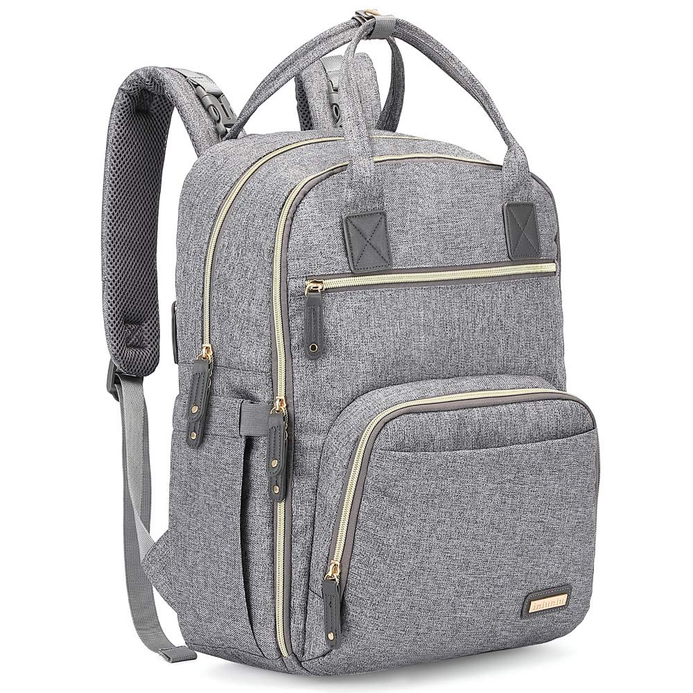 Diaper Bag Backpack, iniuniu Large Unisex Baby Bags Multifunction Travel Backpack for Mom and Dad with Changing Pad and Stroller Straps, Gray by iniuniu