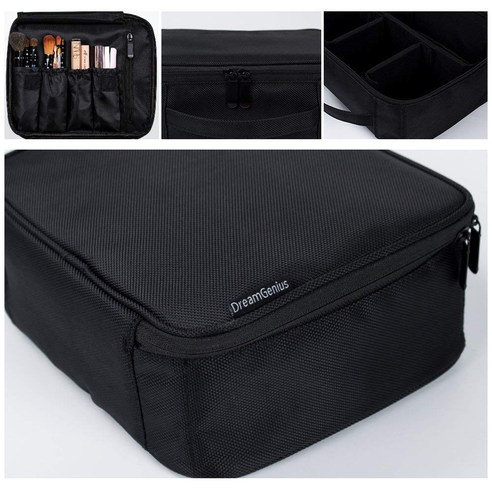 DreamGenius Makeup Bag Portable Travel Makeup Train Case with Adjustable Dividers and Brush Holder-Small