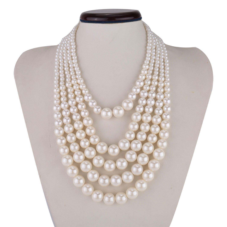 Amazon: Kalse 3 Layers Strand Simulated Pearl Strand Bib Pendant Choker  Chain Necklace (3 Strands): Jewelry