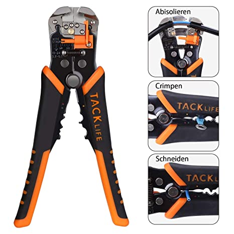 Tacklife MWS02 - Pelacables, pinza de compresión, cortaalambres automático, multiherramienta para pelar, cortar y corrugar, para diámetros de cable de 0,2 ...