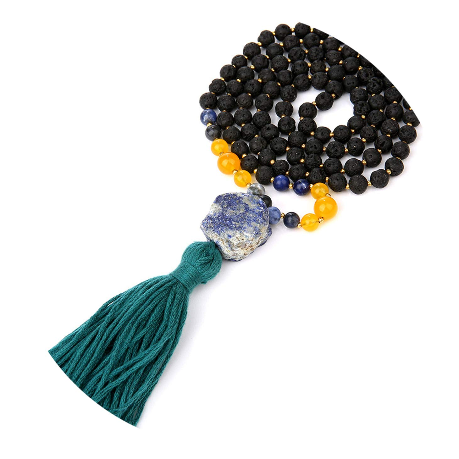 Olive Tayl 108 Mala Beads Necklaces for Women Female Payer Regious Matte Natural Stone Pendant Long Tassel NEC