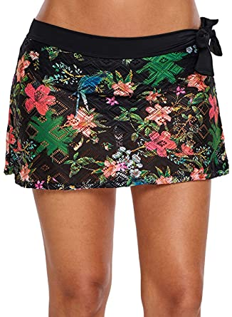 9ad39516ec Amazon.com  XAKALAKA Women Crochet Lace Bikini Bottom Swim Skirt Solid  Swimsuit Short S-XXL  Clothing