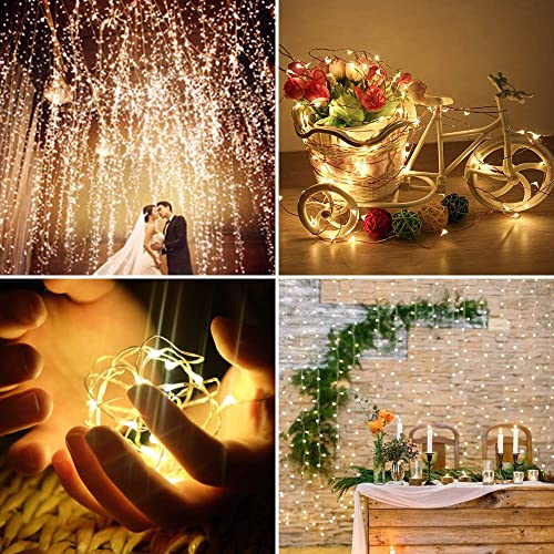 cuteadoy Solar String Lights Outdoor Waterproof Solar Fairy Lights 100LED 39Ft 8 Modes Decorative String Lights for Party, Patio, Garden, Gate, Yard, Wedding, Christmas Warm White,2 Pack