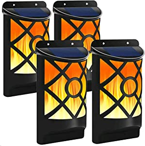 Solar Flame Light 4 PCs Solar Flame Lights Set Upgraded Waterproof Landscape Garden Pathway Light with Dancing Flickering Flames Auto On/Off Dusk to Dawn Outdoor Fence Lights for Yard Decoration