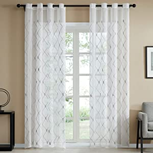 Top Finel White Sheer Curtains 96 Inches Long Grey Embroidered Diamond Grommet Window Curtains for Living Room Bedroom, 2 Panels