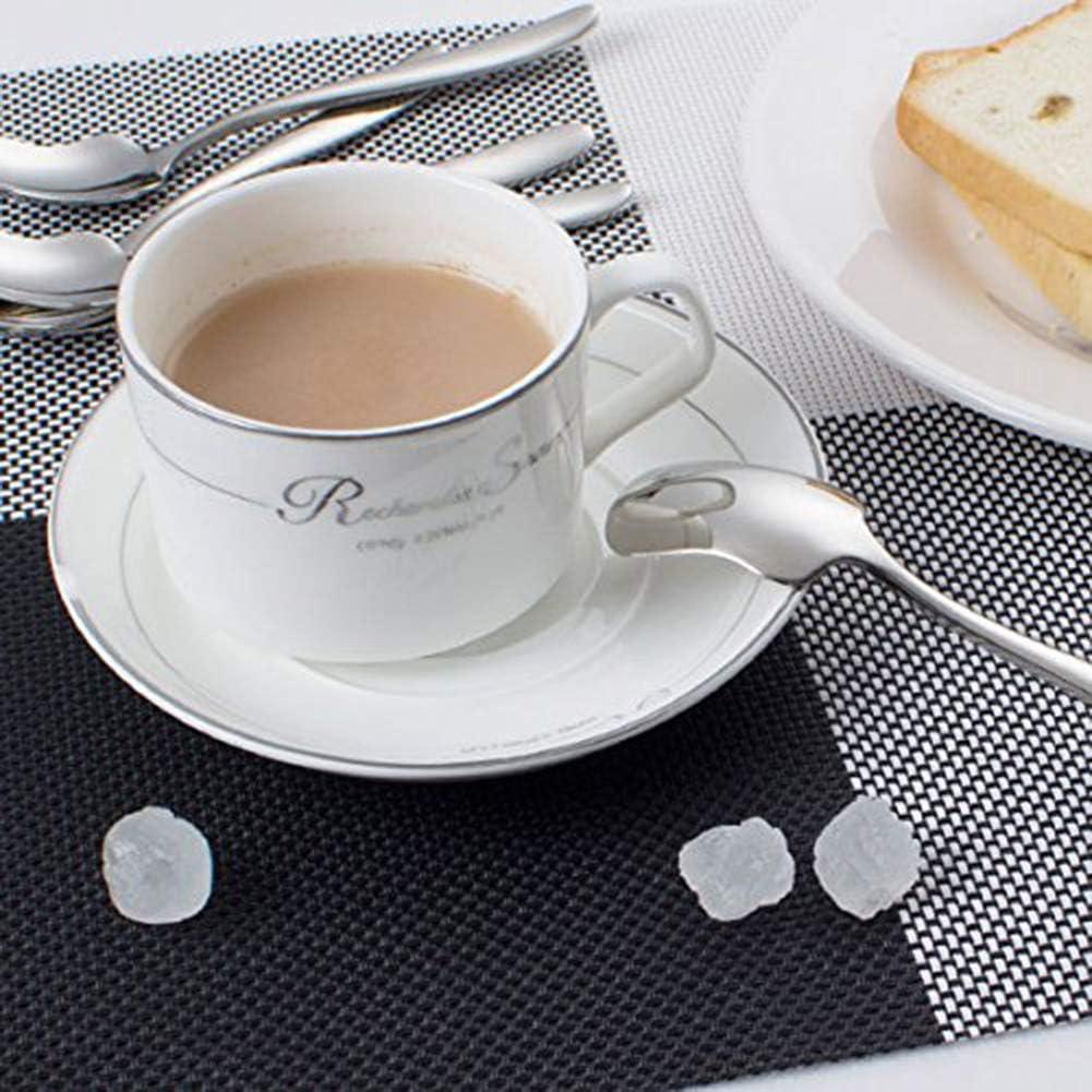 Silber 5,25 Zoll Teel/öffel Edelstahl Dessertl/öffel Iced Cream Tea Mischen R/ührl/öffel Spiegelpolierl/öffel f/ür Kinder Erwachsene 13,3 cm AOOSY 4 St/ück Kaffeel/öffel
