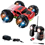 KidiRace Stunt Car, 360 Degree Spinning and Flips, Double Sided Remote Control Car- Red