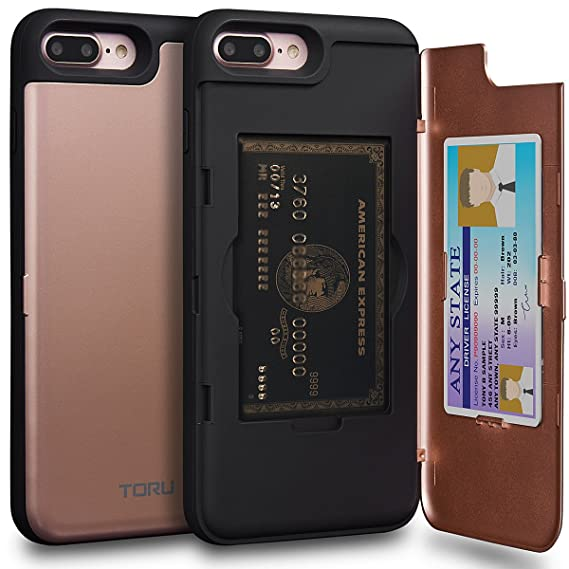 Toru Cx Pro Iphone 8 Plus Wallet Case Pink With Hidden Id Slot Credit Card Holder Hard Cover Mirror For Iphone 8 Plus Iphone 7 Plus Rose Gold
