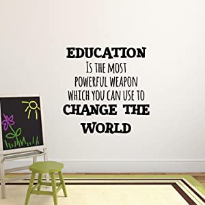 "Vinyl Wall Art Decal - Education is The Most Powerful Weapon Which You Can Use to Change The World - 23"" x 23"" - Modern Inspirational Quote Sticker for School Classroom Kids Room Office Decor"