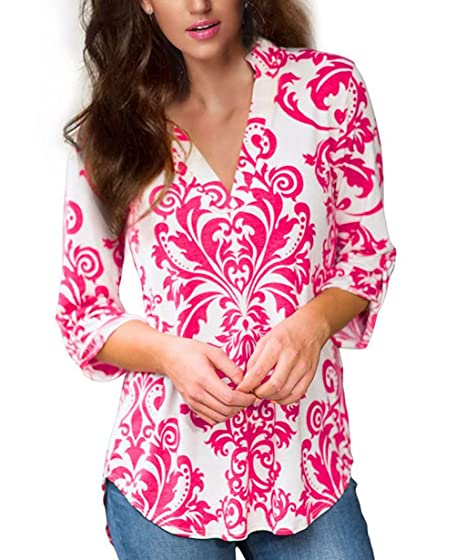 634132e78f2 AOMINGGE Women s Blouses V Neck Floral Printed Casual T shirts 3 4 Cuffed  Sleeve Tops