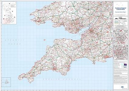 OfficeForce - Mapa de pared laminado grande de Inglaterra suroeste ...