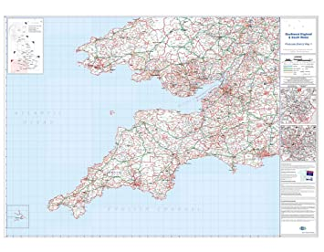 OfficeForce Large Laminated Wall Map of South West England and South