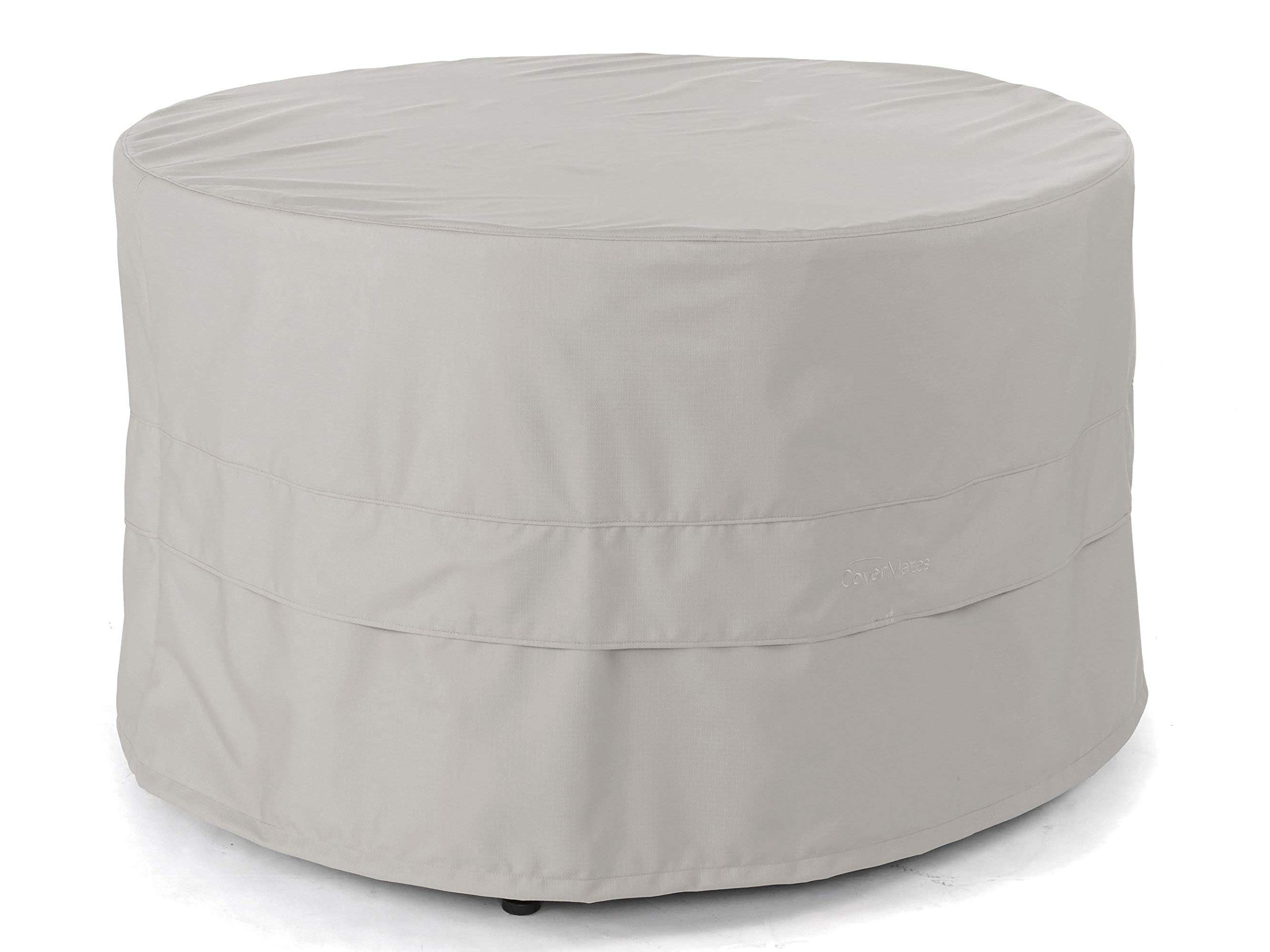 CoverMates - Round Dining Table Cover - Fits 72 Inch Diameter and 30 Inch Height - Ultima Ripstop - 600D Fade Resistant Poly - Breathable Covered Ventilations -7 Year Warranty - Ripstop Grey