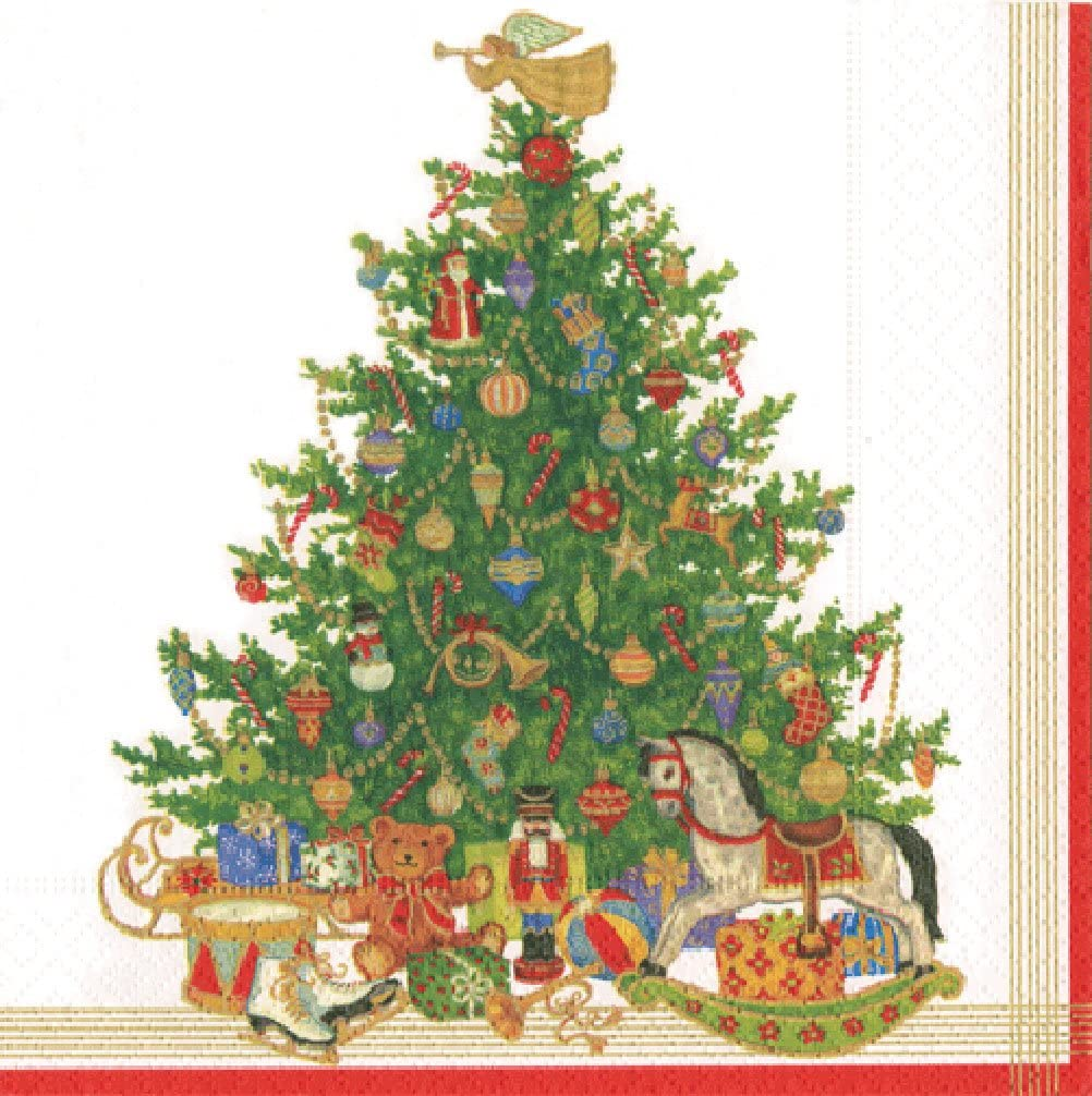 Caspari Christmas Tree Ivory with traditional toys Luncheon Paper Table Napkins 20 in a pack 33cm square
