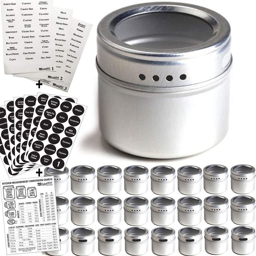 24 Magnetic Spice Tins & 2 Types of Spice Labels, Authentic by Talented Kitchen. 24 Storage Spice Containers, Window Top w/Sift-Pour. 113 Clear & 126 Chalkboard Stickers. Rack Magnetic On Refrigerator