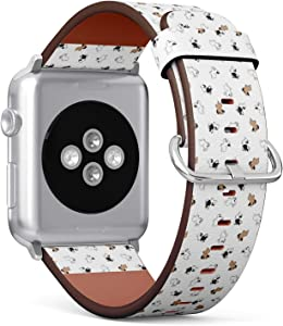 Compatible with Small Apple Watch 38mm & 40mm (Series 5, 4, 3, 2, 1) Leather Watch Wrist Band Strap Bracelet with Stainless Steel Clasp and Adapters (Dog French Bulldog)
