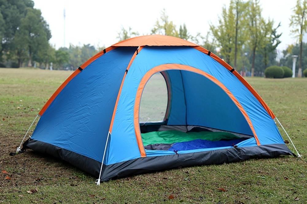YHKQS-KQS Sommer Automatik Pop Up Tent Outdoor Campingplatz Wasserdicht klappbar Überdimensioniert 2 Türen Single Skin Family Zelt // Strandzelt mit Tragetasche