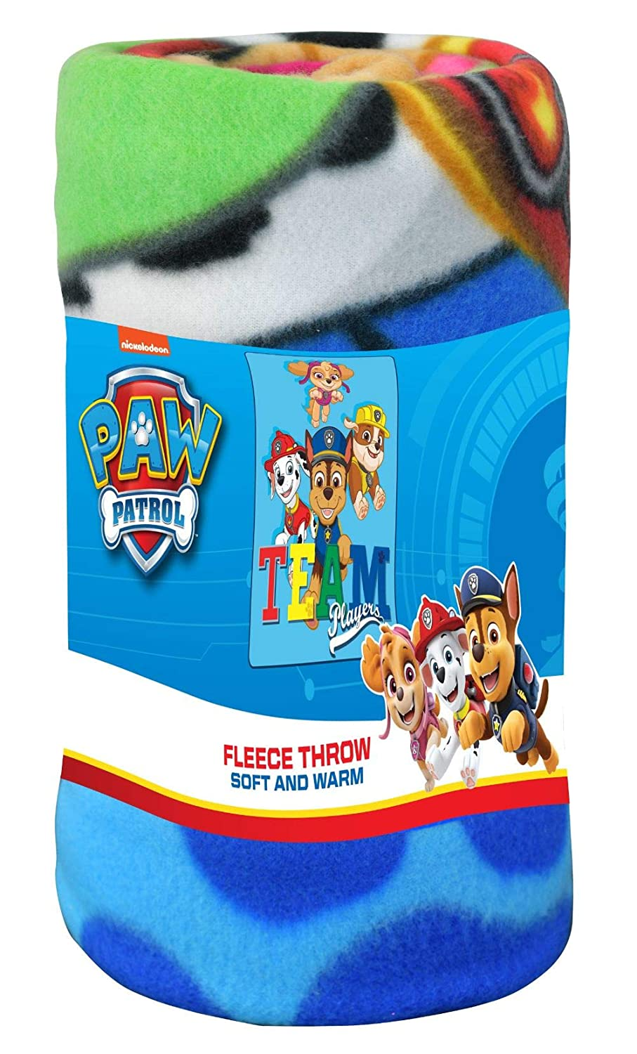 """Disney Nickelodeon Kid's Blankets & Throws Paw Patrol Fleece Blanket, Super Soft & Warm Breathable Fabric Nap Mat Collectible Novelty Throw for Toddlers, Excellent for Baby Registry Gift 45""""x60"""""""