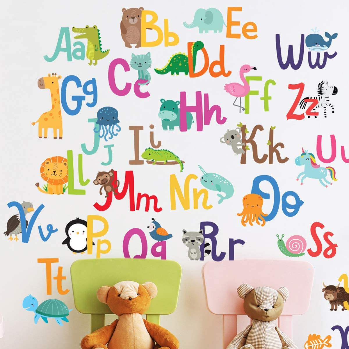 Alphabet Wall Decals for Kids Rooms - ABC Toddler Boy and Girl Playroom Décor Animal Stickers with Free Gift!