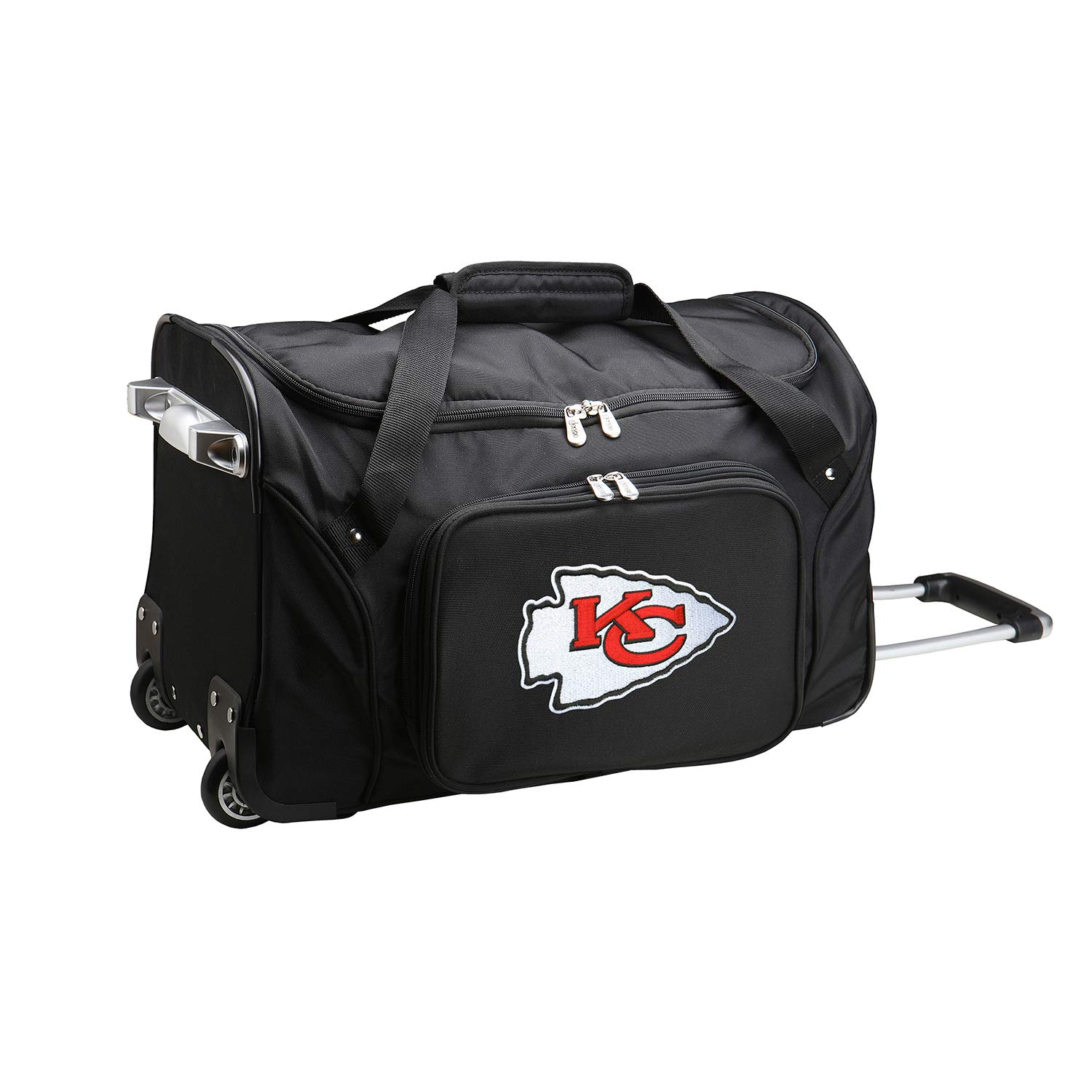 NFL Kansas City Chiefs Wheeled Duffle Bag, 22 x 12 x 5.5, Black by Denco