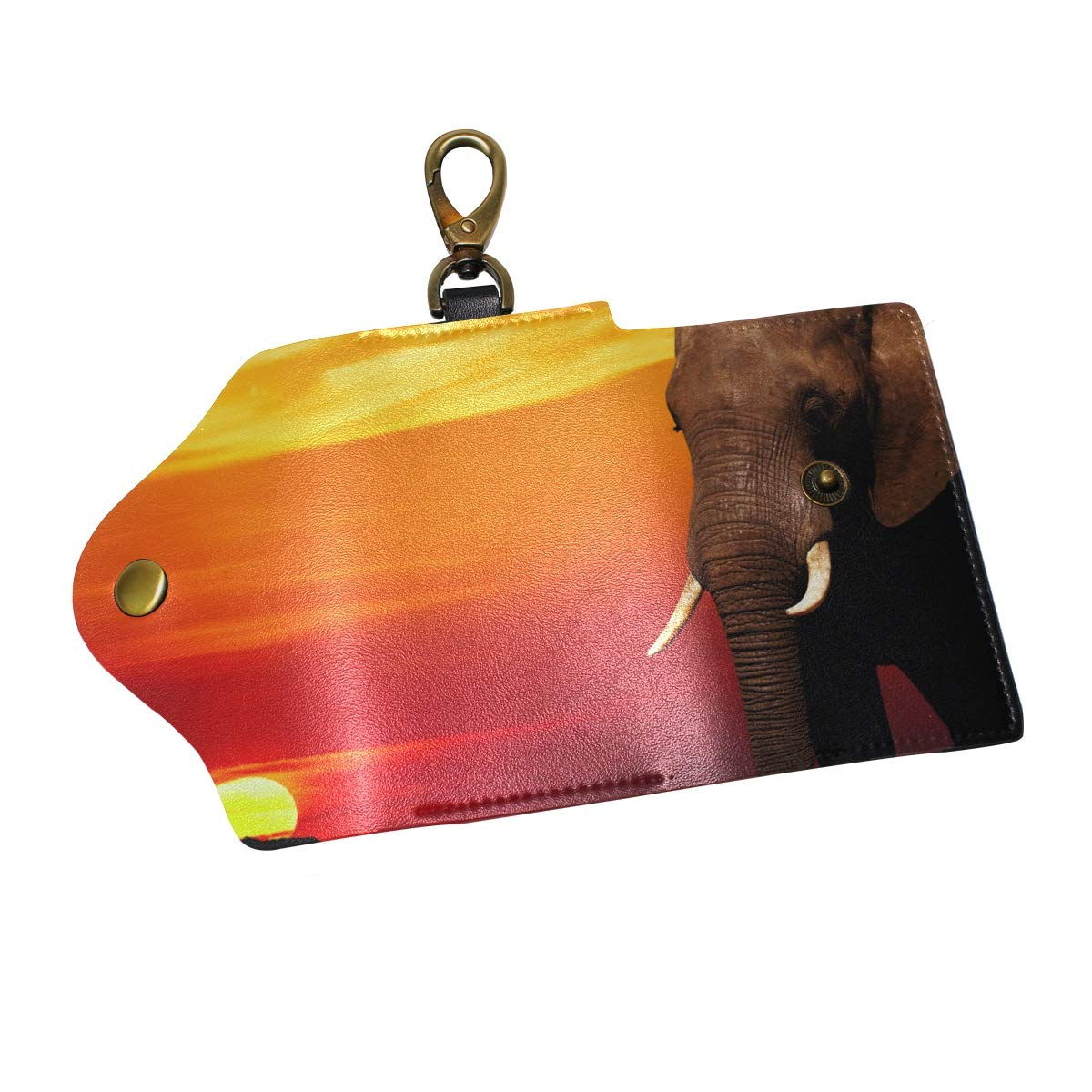 KEAKIA African Elephant At Sunset Leather Key Case Wallets Tri-fold Key Holder Keychains with 6 Hooks 2 Slot Snap Closure for Men Women