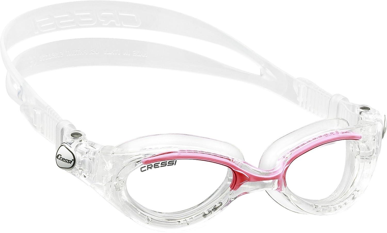 Interesantes gafas de natación para adultos con montura transparente y anti UV.