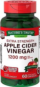 Apple Cider Vinegar Capsules 1200mg | 60 Veggie Pills | Extra Strength | Vegan, Vegetarian, Non-GMO, Gluten Free | by Nature's Truth