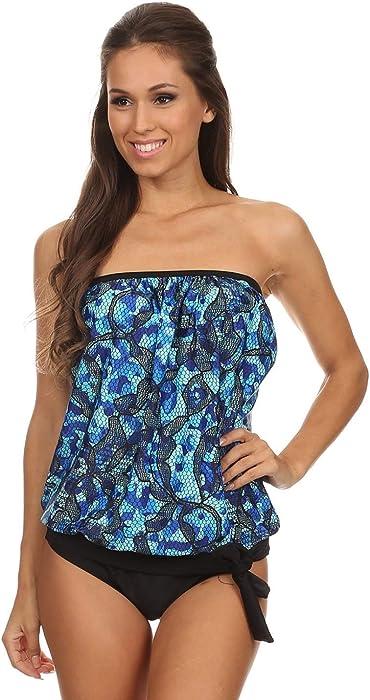 2a015d884c82a Dippin  Daisy s Blue Camo Bandeau Blouson Tie Tankini at Amazon ...