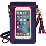 MoKo Cell Phone Bag, PU Leather Crossbody Bag Mini Phone Pouch with Shoulder Strap Fit with iPhone Xs Max/XR/Xs/X, Galaxy S10e/S10/S10 PLUS/Note 9 - Indigo + Red