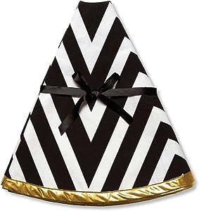 C.R. Gibson Festive Christmas Tree Skirt, 48-Inch, Star Stripe, Black White & Gold