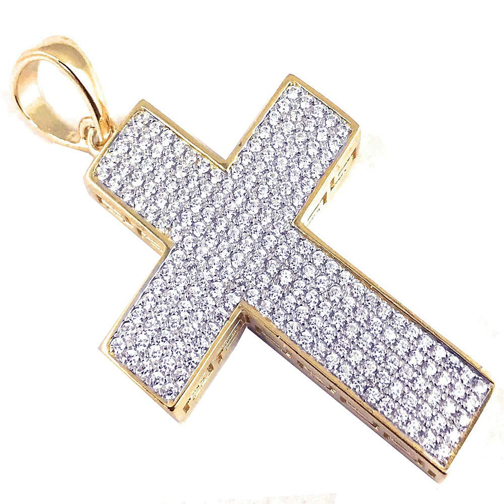 46mm Silver Yellow Plated Cross Charm