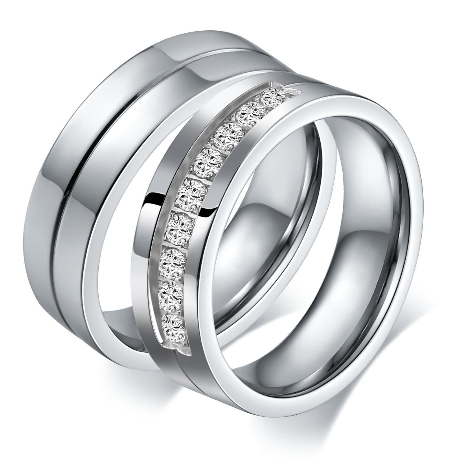 Aeici Stianless Steel Silver ''Forever Love'' Couples Promise Ring Romantic Couples Gift Women Size 9 & 10 by Aeici (Image #3)