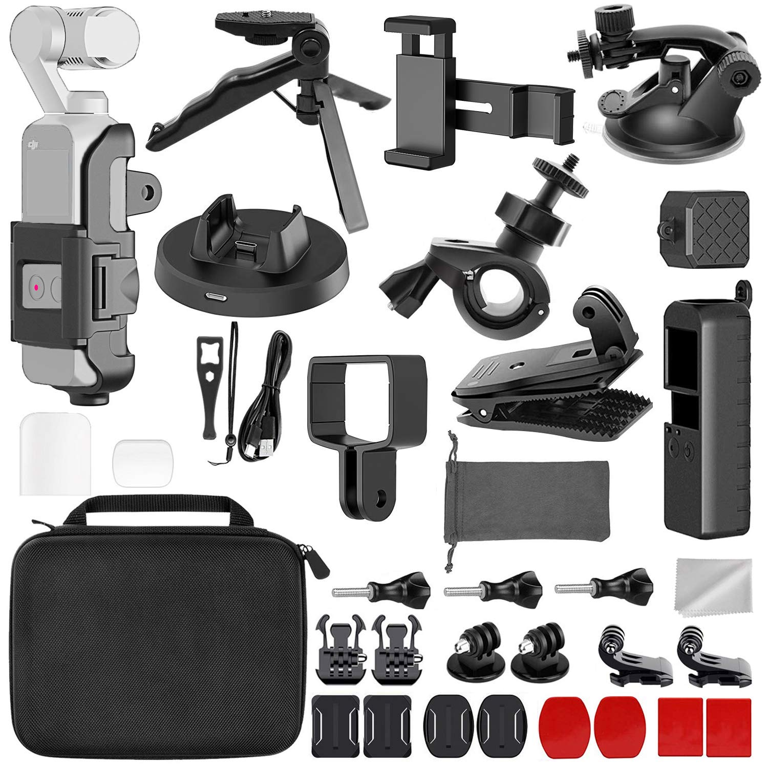 LANYIB 33-in-1 OSMO Pocket Accessories Kit, DJI Osmo Pokcet Expansion Kit Including Extension Holder, Mobile Phone Holder, Tripod, Car Suction Cup Bracket, Strap Clip, Charging Base and More by LANYIB
