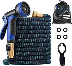 Expandable Garden Hose, 2020 Upgraded 75ft Water Hose with Superior Strength 3750D & 10 Function Spray Nozzle, Flexible Hose with 4 Layers Latex, 3/4 Solid Brass Connectors for Watering and Washing